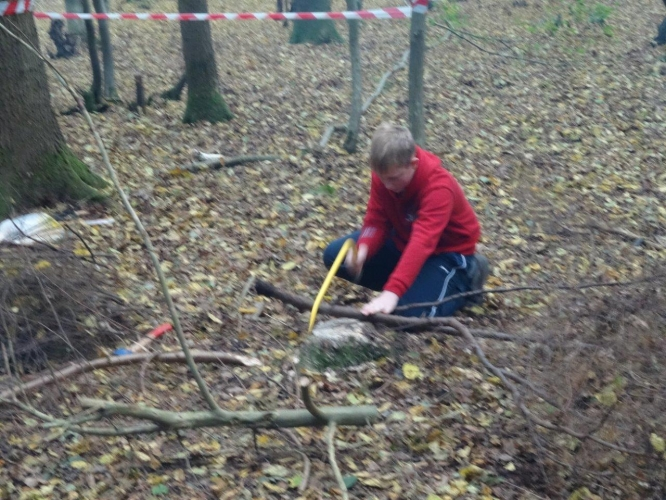 Cutting wood for the fire